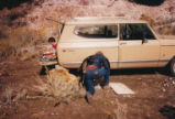 Harding Pegmatite field trip - child in back of truck