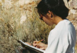 Harding Pegmatite field trip - woman with clipboard