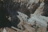 Harding Pegmatite mine - five men working quarry face