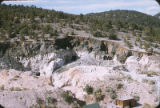 Harding Pegmatite mine - mine entrances and building with green roof