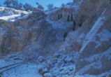 Harding Pegmatite mine - snow on mining cart tracks