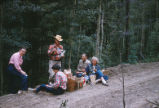 Harding Pegmatite mine - five people having picnic on side of road
