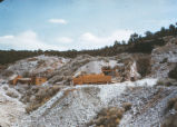 Harding Pegmatite mine - wooden building, platform, and carts
