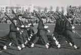 Air Force ROTC - drill squadron performs at football game fall 1951