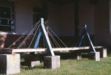 Engineering - Wagner Hall - exterior - model of suspension bridge