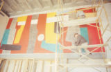 Library - Zimmerman - interior - mural being painted