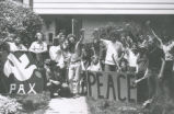 Student Publications - 1970 strike - protesters in front of house