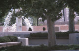 Landscaping - fountain - Education Complex - looking through trees
