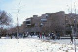 Humanities Building - snow on lawn and plaza