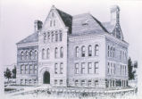 Hodgin Hall - ink drawing of pre-1909 building