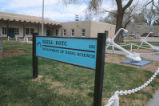 Naval Science - turquoise and black building sign
