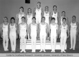 Athletics - UNM Lobos Men's Gymnastics Team posed on risers