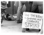 1970 student strike - Manny Wright resting on ground
