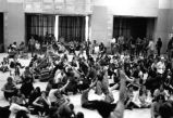 1970 student strike - occupiers seated on floor of SUB ballroom