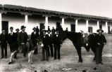 Group of men in front of the Manuel Armijo house,  Old Town, Albuquerque