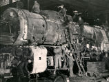 Locomotive at Atchison, Topeka and Santa Fe Railway shops, Albuquerque, New Mexico c.1940s