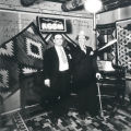 Clyde Tingley with Ed Wynn at KGGM radio station in the Franciscan Hotel, Albuquerque