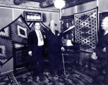 Clyde Tingley and Ed Wynn at the KGGM radio studio in the Franciscan Hotel, Albuquerque