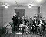 Musical group at KOB radio station studio, Albuquerque