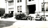 Albuquerque firemen and trucks in front of city hall
