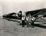 Clyde Tingley and Bill Cutter (center and right) at the Albuquerque Airport