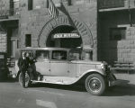 Chester French with hearse in front of French Building, Chester French Mortuary, 400-408 West Gold...