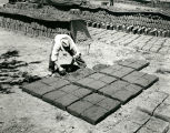 Worker prepares adobe bricks for drying