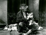 William Henry Cobb with wolf cubs, Jack and Jill, Albuquerque