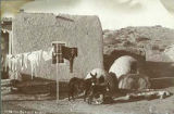 Residence with burros and horno ovens, New Mexico