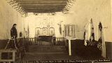 """Interior of Old Church at Ojo Caliente, Built in 1590"", New Mexico"