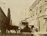 Horse and buggy on street, Los Angeles, California