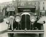 Ruth Taylor, Paramount Pictures player shows the new 1929 New Mexico license plate