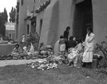 Indian vendors in front of Fine Arts Museum during Fiesta, Santa Fe, New Mexico