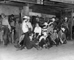 Group of riders in Talley's Barn stable, Cloudcroft, New Mexico