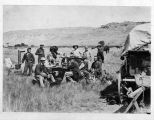 Personnel of the 1870 Hayden Expedition in camp, Red Buttes, Wyoming