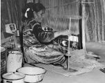 Navajo woman weaving wool rug, Navajo Nation Reservation, New Mexico