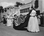 Fiesta Queen and her court, Sunday morning procession on East San Francisco Street, Santa Fe, New...