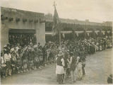 Unidentified ceremony in front of Palace of the Governors, Santa Fe, New Mexico