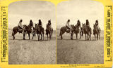 San Juan Pueblo men on horseback, New Mexico