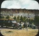 Indian Detour bus at Puye cliff dwellings, New Mexico