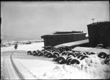 Railroad shops area in winter, Cimarron, New Mexico