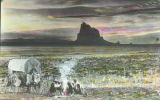 Navajo camp with Shiprock in the background, New Mexico
