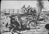 Armored truck and motorcycle in action, Pershing Mexican Expedition, New Mexico
