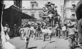 Men on crowded streetcar during Mexican Revolution, Mexico