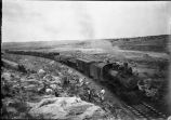 New Mexico Central Railway train, southbound coal train, vicinity of Arroyo de la Jara south of...