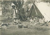 Chief Alchice in Apache summer camp, White River Indian Reservation, Arizona