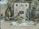 Navajo woman weaving blanket, New Mexico