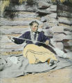 Navajo woman spinning wool, New Mexico