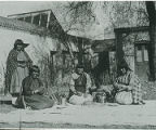 San Ildefonso women demonstrating pottery, Palace of the Governors, Santa Fe, New Mexico