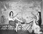 Women displaying map of New Mexico during Coronado Cuarto Centennial celebration, New Mexico